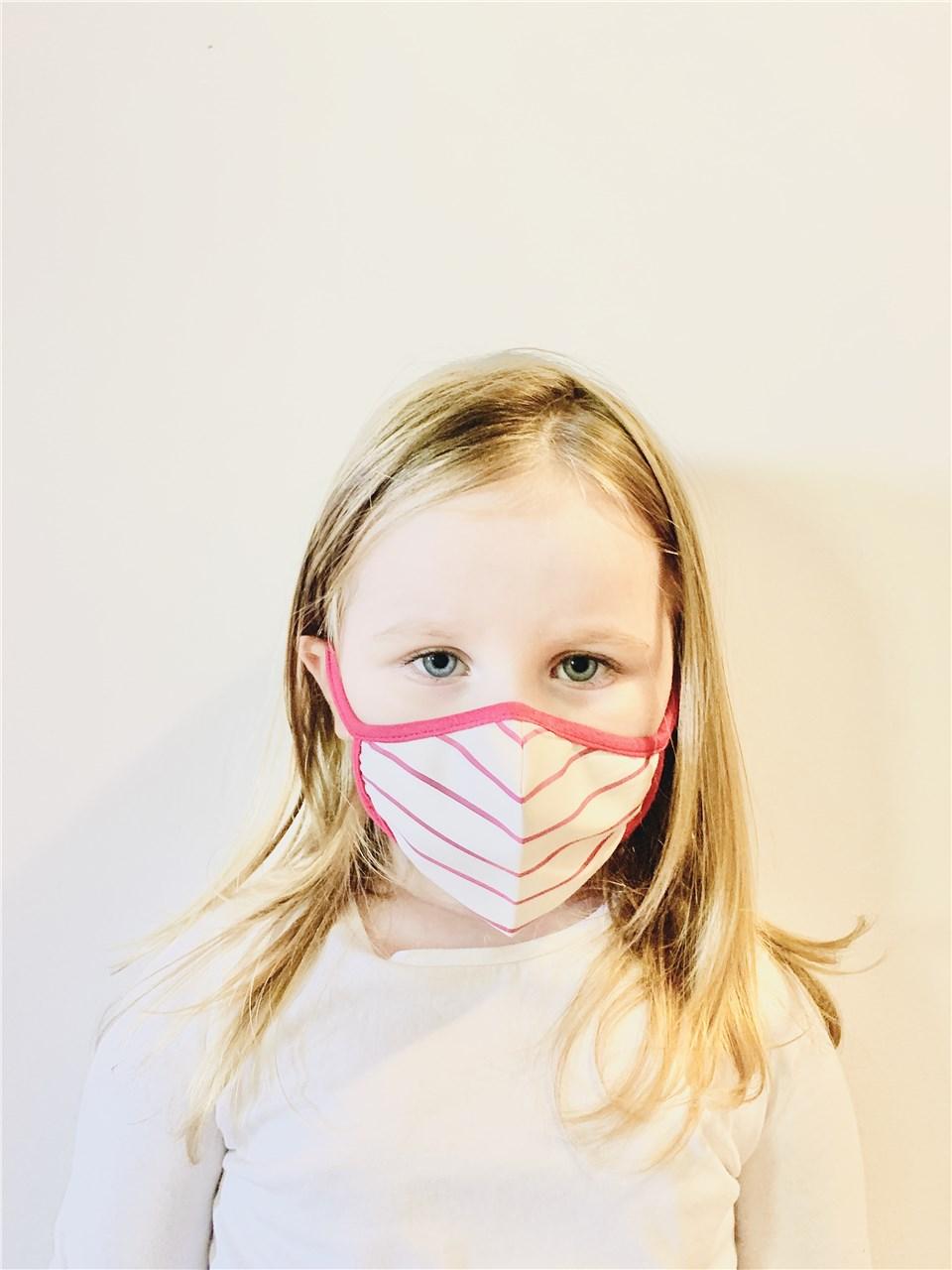 Маска детска розево бела XS