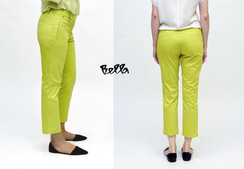 Bella моден предлог: Лежерни летни панталони во свежа јаболко зелена боја - Панталони Монако